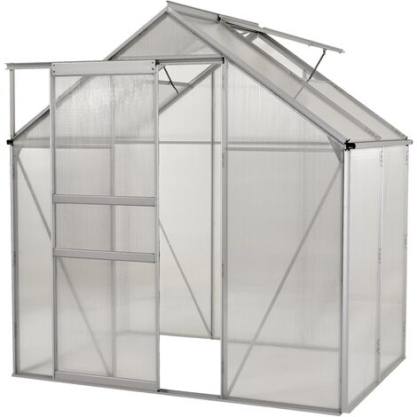 """main image of """"Ogrow Walk In Clear Polycarbonate Greenhouse - Large Heavy Duty Aluminium Lawn & Garden Grow House"""""""