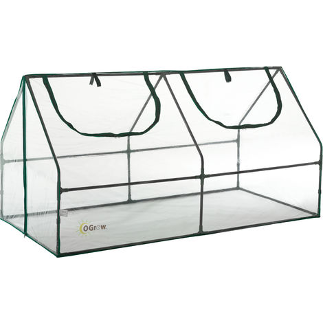 Ogrow Mini Polytunnel Cloche Greenhouse for Garden - Small Compact Outdoor Cold Frame Greenhouse | Clear PVC Plastic Cover