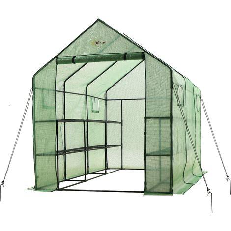 "Ogrow Portable Large Walk In Green House - 2 Tier 12 Shelf Mini Green Plastic Polyethylene Garden Greenhouse with Windows - 83"" H x 67"" W x 117"" L"