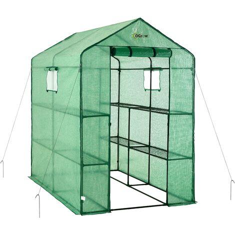 "Ogrow Portable Large Walk In Green House - 2 Tier 8 Shelf Mini Green Plastic Polyethylene Garden Greenhouse - 75"" H x 49"" W x 74"" D"