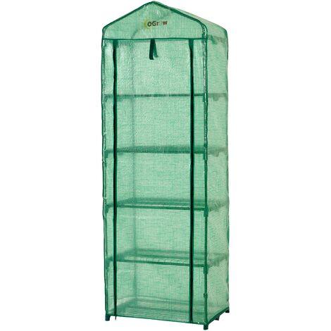 Ogrow Small 5 Tier Portable Garden Greenhouse | Mini Indoor / Outdoor Green Polyethylene Plastic Grow House