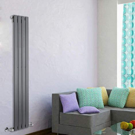 Ohio Anthracite 1600 x 300 Vertical Flat Panel Designer Radiator Central Heating