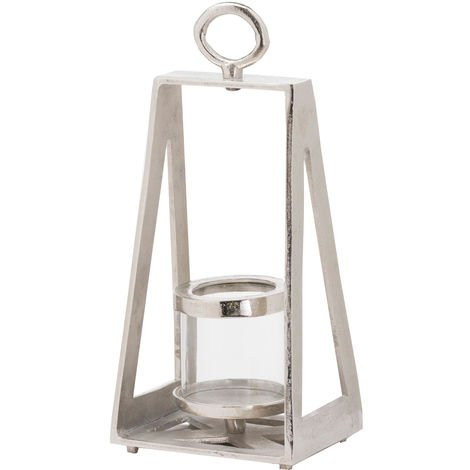 Ohlson Geometric Pyramid Tea Light lantern (One Size) (Silver)