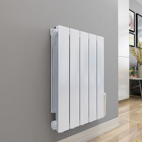 Bismo 577 x 461mm White Wall Mounted 900W Oil Filled Electric Radiator - please select - please select