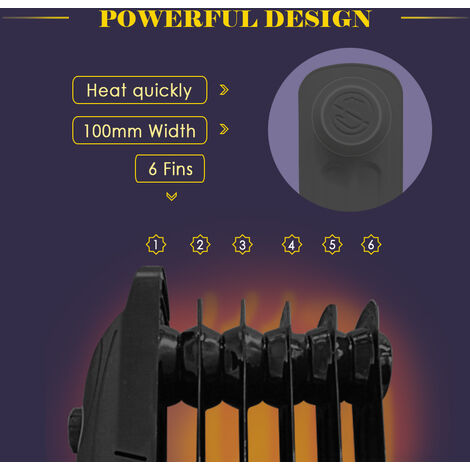 Oil Filled Radiator 6 Fin 800W Mini Portable Electric Heater Thermostat Black