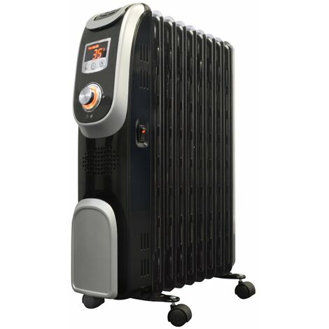 Oil Filled Radiator Heater, LED Display, with Countdown Timer in Black 2kw or 2.5kw