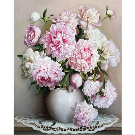 Oil Painting By Numbers, Diy Hand Painted Flowers Pictures Canvas Painting Living Room Wall Art Home Decor Gift - 16 * 20 Inches Unframed