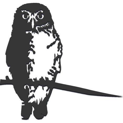 Oiseau à planter chouette en acier corten