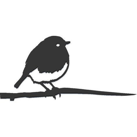 Oiseau à planter rouge gorge en acier corten Hauteur 14cm
