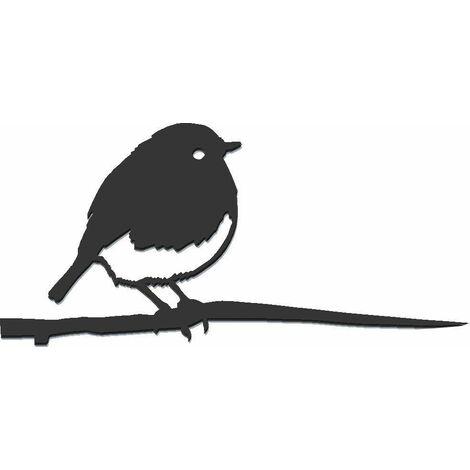 Oiseau à planter rouge gorge en acier corten Hauteur 22cm
