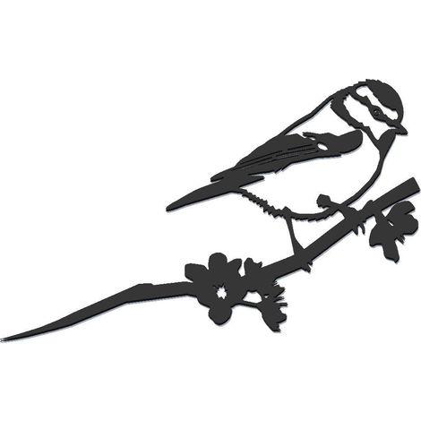 Oiseau sur pique mésange bleue en acier corten