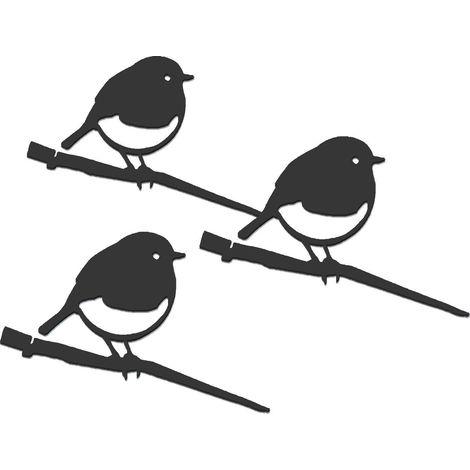 Oiseaux à planter mini rouge -gorge en acier corten (Lot de 3)