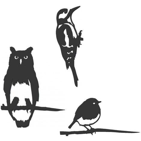 Oiseaux à planter taille mini en acier corten (Lot de 3)