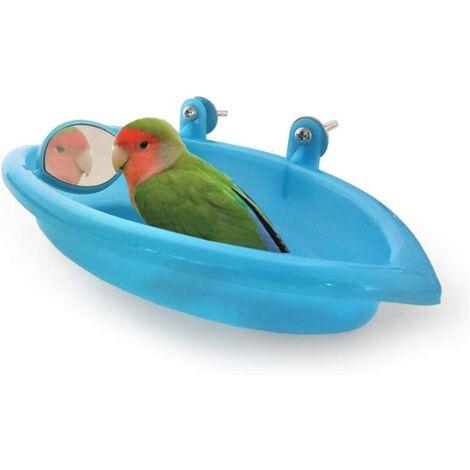 Oiseaux Baignoire pour Animaux de Bain Fournitures Douche Portable Petits Animaux en Plastique Bassin Parrot,Baignoire Bird Baignoire Bird Parrot Cabine de Douche Accessoires (Bleu)