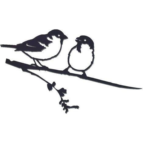 Oiseaux sur pique couple de moineaux en acier corten Hauteur 28cm