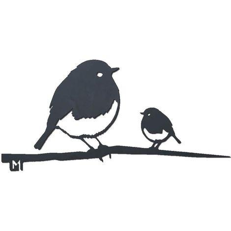 Oiseaux sur pique couple de rouge-gorge en acier corten