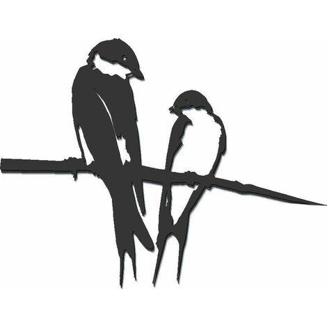 Oiseaux sur pique couple d'hirondelles en acier corten