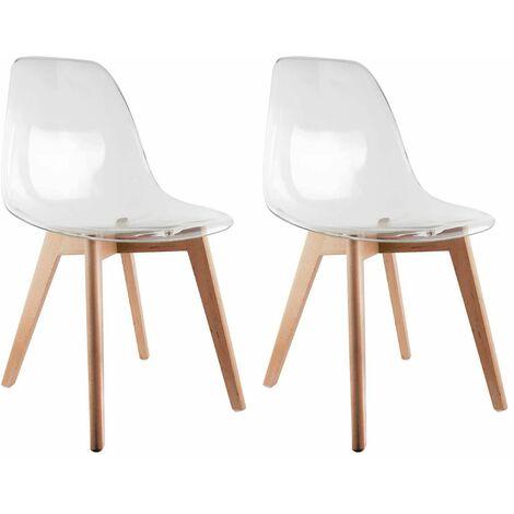 Okoa - Lot de 2 Chaises Transparentes - Blanc