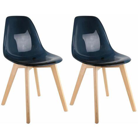 Okoa - Lot de 2 Chaises Transparentes Noires - Noir