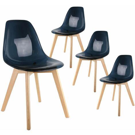 Okoa - Lot de 4 Chaises Transparentes Noires - Noir