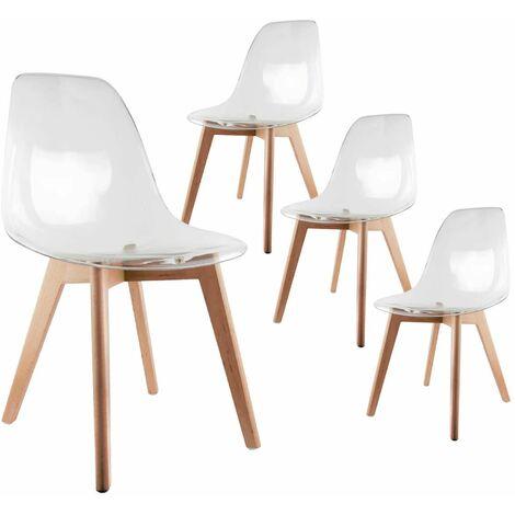 Okoa - Lot de 4 Chaises Transparentes - Transparent