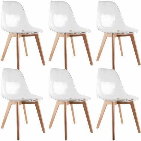 Okoa - Lot de 6 Chaises Transparentes - Transparent