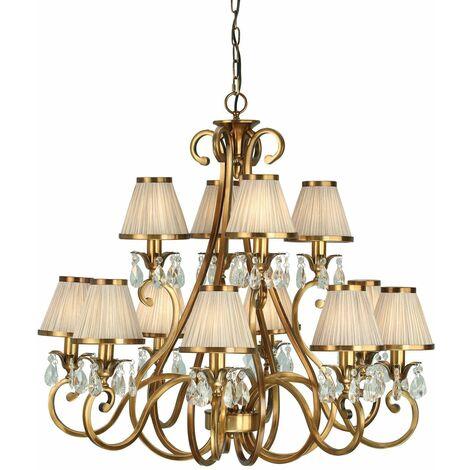 Oksana chandelier, antique brass, crystal drops, 12 beige shades