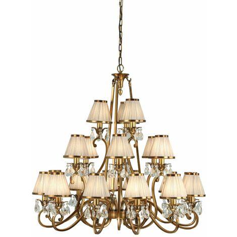 Oksana chandelier, antique brass, crystal drops, 21 beige shades