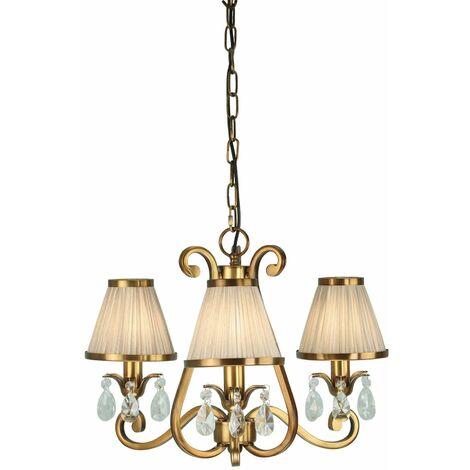Oksana chandelier, antique brass, crystal drops, 3 beige shades