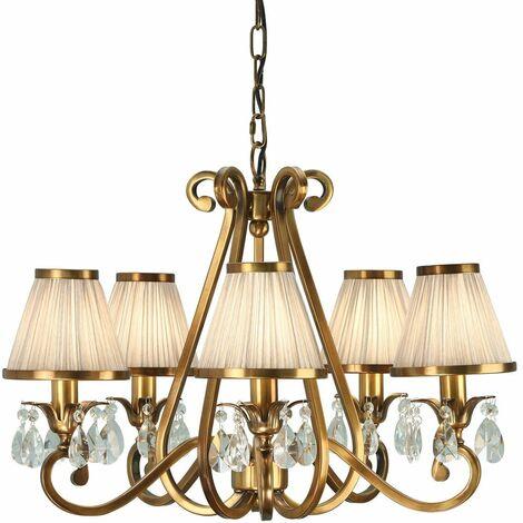 Oksana chandelier, antique brass, crystal drops, 5 beige shades