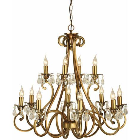 Oksana chandelier, antique brass, crystal pendants, 12 lights