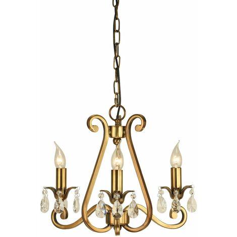 Oksana chandelier, antique brass, crystal pendants, 3 lights
