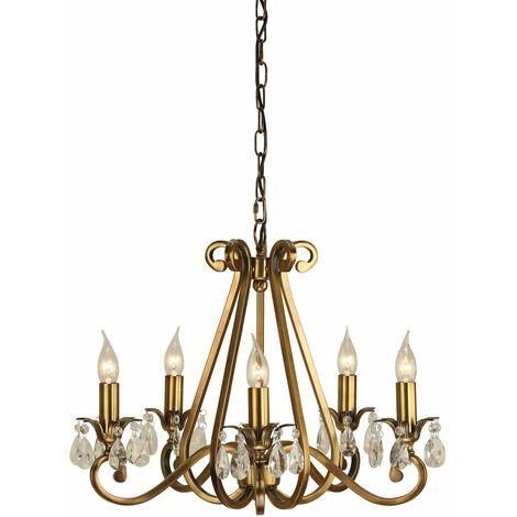 Oksana chandelier, antique brass, crystal pendants, 5 lights