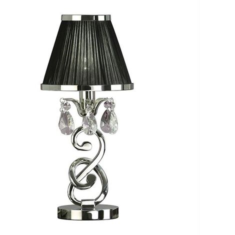 Oksana Nickel Small Table Lamp With Black Shade 40W