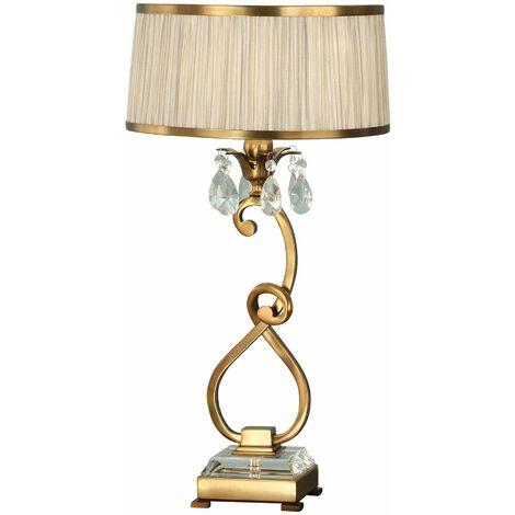Oksana table lamp, 61cm, antique brass, crystal pendants, beige lampshade