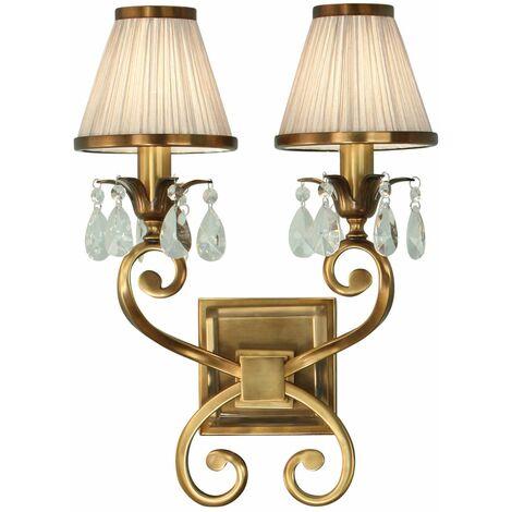 Oksana wall lamp, antique brass, crystal pendants, 2 beige shades
