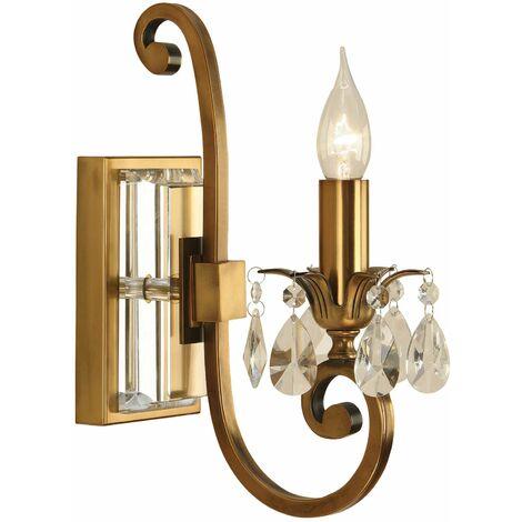 Oksana wall lamp, antique brass, crystal pendants