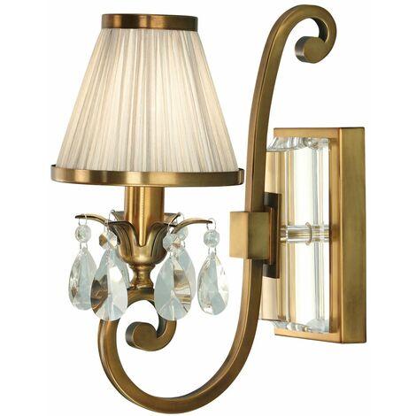 Oksana wall lamp, antique brass, crystal pendants, beige lampshade