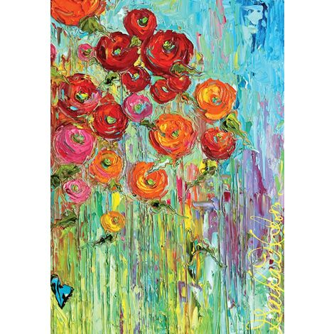 oland-Fabulous Flowers-Decorative Colorful Multicolor Spring Summer USA-Produced Garden Flag