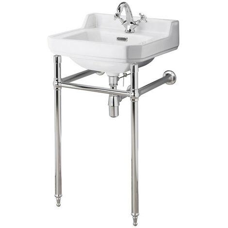 Old London Richmond 560mm Basin & Luxury Chrome Washstand - 1 Tap Hole