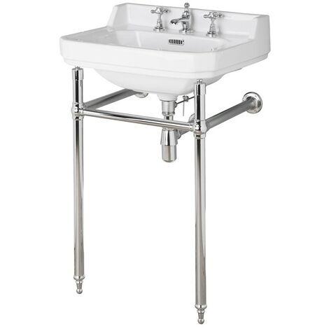 Old London Richmond 560mm Basin & Luxury Chrome Washstand - 3 Tap Hole