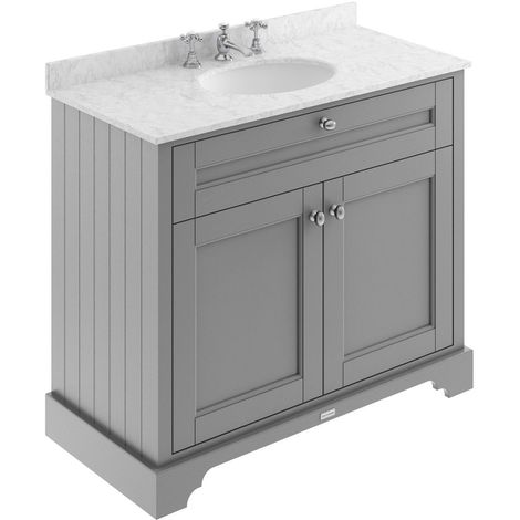 Old London Storm Grey 1000mm 2 Door Vanity Unit with Grey Marble Top and Basin with 3 Tap Holes - LOF281