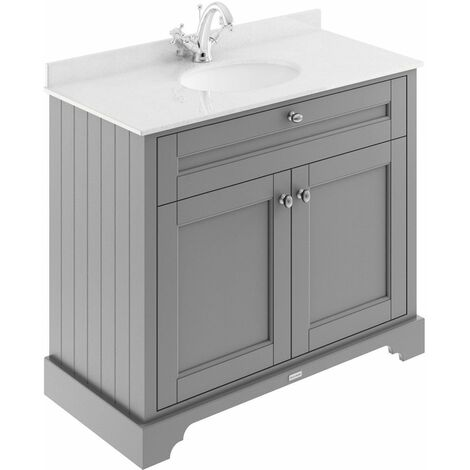 Old London Storm Grey 1000mm 2 Door Vanity Unit with White Marble Top and Basin with 1 Tap Hole - LOF277