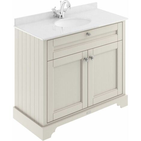Old London Timeless Sand 1000mm 2 Door Vanity Unit with White Marble Top and Basin with 1 Tap Hole - LOF477