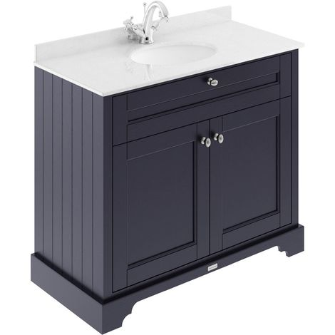 Old London Twilight Blue 1000mm 2 Door Vanity Unit with White Marble Top and Basin with 1 Tap Hole - LOF377