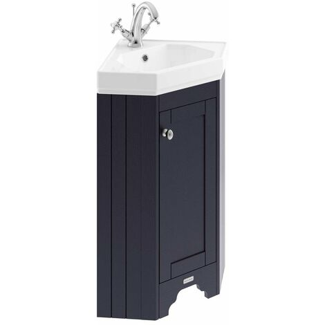Old London Twilight Blue Corner Single Door Vanity Unit and Basin with 1 Tap Hole - LOF309
