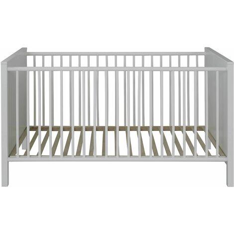 OLE/EMMA - Meuble Bébé/Enfant - Lit en mélaminé blanc L-H-P : 76 / 83 / 147 cm - blanc