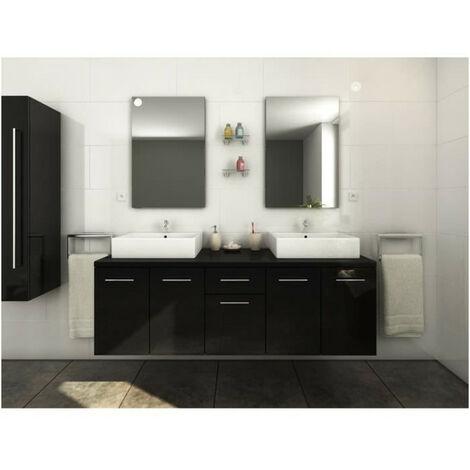 OLGA Ensemble salle de bain double vasque L 150 cm - Noir laque brillant