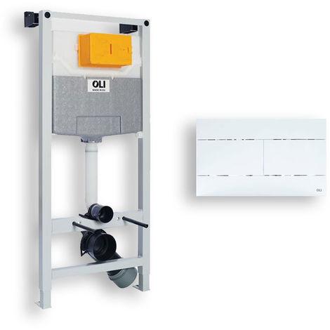 Oli WC Set Vorwandelement BH 115 cm für Wand-WC inkl Betätigungsplatte Weiß