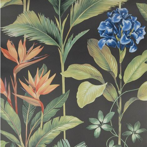 Oliana Charcoal Wallpaper Belgravia Decor Green Blue Orange Floral Tropical